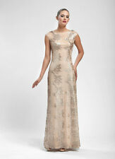 NWT $619 SUE WONG GOLD ANIMAL LEOPARD PRINT LACE SEQUIN PRINT LONG GOWN DRESS 6