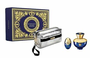 Versace Dylan Blue For Women - Gift Set With 100ml EDP, 10ml EDP Spray and Pouch