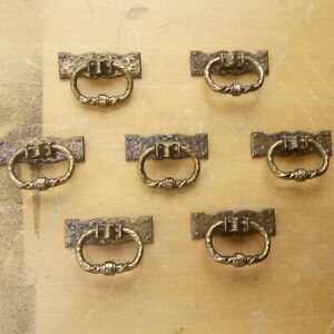 Lot of 7 MCM 1969 Vintage Brass Decorative Fixed Pulls/Handles Distressed Patina
