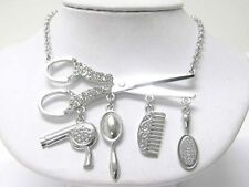 NEW HAIR STYLIST CRYSTAL SCISSORS COMB DRYER BRUSH MIRROR CHARM NECKLACE SILVER