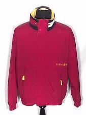 Vtg Tommy Hilfiger Spell Out Flag Logo Large L Red Full Zip Fleece Winter Jacket