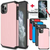 For iPhone 11/11 Pro Max Case Shockproof Armor Cover With Glass Screen Protector
