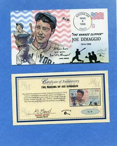 Passing of Joe Dimaggio Bevil (H&M) HD & HP Cachet First Day Cover AFDCS 1 /1