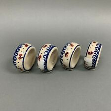 Made in Poland Napkin Rings Blue White Lot of 4