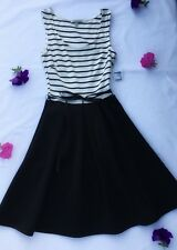 NEW Charlotte Russe Womens Size XS Dress Black White Striped Knee Length Juniors