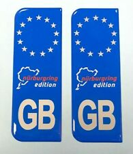 NURBURGRING GB Silver on Blue Vehicle Number Plate Stickers HIGH GLOSS DOMED GEL