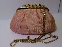 Robinsons Vtg. Pink Sateen Ruched Clutch/Shoulder Bag