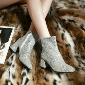 Womens Glitter Round Toe Zip Ankle Boots Sequin Block Mid Heels Wedding Shoes