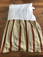 Waverly Charleston Chirp Red Gold Striped Bedskirt Full Queen