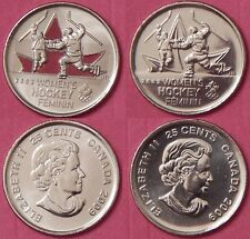 Brilliant Uncirculated 2009 Canada Women's Hockey Color & Plain 25 Cents