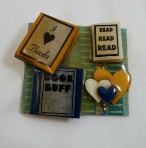 Book Pins By Lucinda Read I Love Books Book Buff Blue Brooch