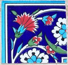 "4""x4"" Ottoman Iznik Red Carnation & White Daisy Ceramic Tile Border CORNER"