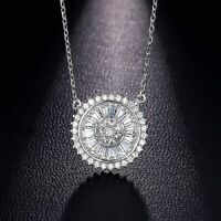 925 Sterling Silver Round and Baguette Pendant Necklace For Women's 1.10 CT