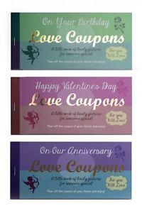 Love Coupons Vouchers Anniversary Birthday Valentines Stationery Gift Him Her
