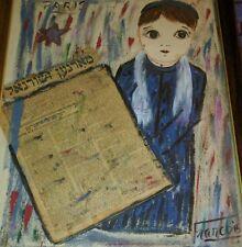 "FRANCOIS PARIS Jewish Boy Yiddish News ORIGINAL Painting/Decoupage 26X20"" Framed"