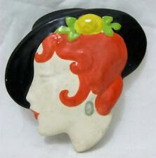Art Deco Face Wall Masks Vintage Red Haired Lady in Hat C1950