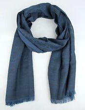 Gucci Unisex Dark Jean Blue Wool/Silk GG Print Scarf 362653 4206