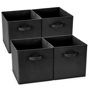 4 Fabric Basket Bin, Collapsible Storage Cube Boxes for IKEA Home Shelf Black
