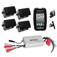 Pyle Bike Outdoor Use 4 Black Box Speakers, 800Watt Amp w/iPod Input, Phone Case