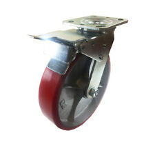 """8"""" x 2"""" Polyurethane on Cast Iron (Red) - Swivel with Total Lock Brake"""