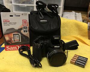 Nikon COOLPIX L320 16.1MP 26x Optical Zoom Digital Camera~Black~~Nr Mint~~Bundle