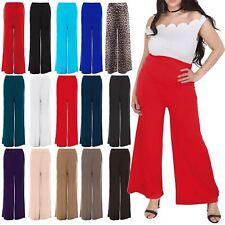 Plus Size Womens Ladies Plain Flared Palazzo Wide Legged Legging Pant Trousers