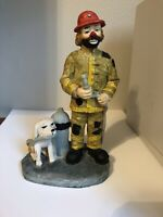 Flambro Emmett Kelly Jr. Clown Figurine Fireman Fire Fighter Dog Hose Hydrant