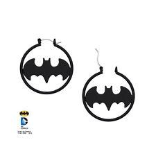 DC Batman Logo Matte Black Hoop Earrings Official DC Merchandise