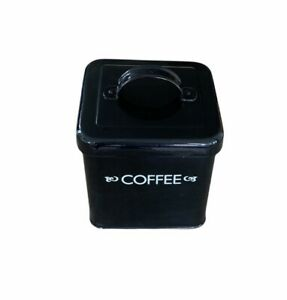 Retro style black cube coffee storage kitchen canister tin with lid.