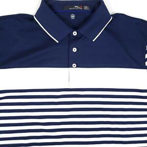 RLX Ralph Lauren Moisture Wicking Blue Stripe Mens Large Short Sleeve Polo Shirt