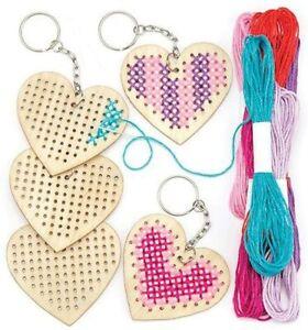 HEART CROSS STITCH KEYRING KITS KIDS CRAFT BEGINNER SEWING ACTIVITY GIFT FUN