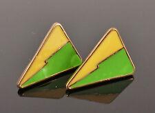 Gold Green Yellow Small Geometric Triangle Jewellery Stud Earrings
