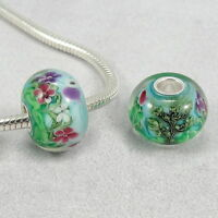 Spring Flowers Lampwork Charm - Large Hole Bead fits European Bracelets NEW