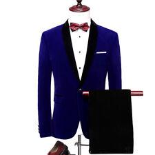 Men Blue Velvet Suit Jacket Tuxedo Black Pants Party Prom Dinner Wedding Suit