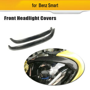 For Benz Smart  Forfour Fortwo 16-19 Front Headlight Eyelid Eyebrow Carbon Fiber