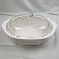 Corning Ware 5.5 Qt White Dutch Oven/Roaster w/ Pyrex Dome Lid V34C Corningware