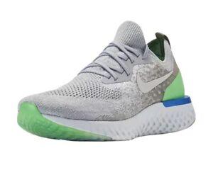 Nike Epic React Flyknit Wolf Grey Lime Blast Run Shoes AQ0067-008 Mens 9.5 NEW