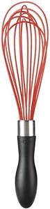 OXO 1253280 Good Grips Better Silicone Whisk,11-Inch, Red,Red/Black