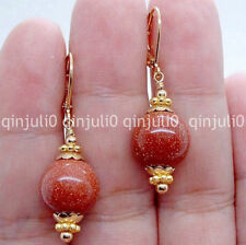 12mm Handmade Gold Sand Stone Gems Gold Plated Leverback Dangle Earrings JE126