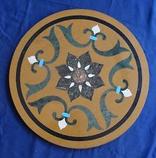 "18"" Marble Coffee Table Top Handmade Mosaic Inlay Marquetry Art Patio Decorative"