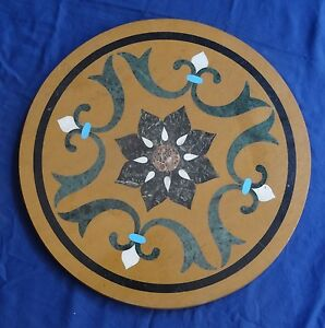 "42"" Marble Coffee Table Top Handmade Mosaic Inlaid Marquetry Art Patio Decor"