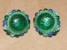 Vintage 60s Mid Century Mod Blue Green Bubbled Lucite Domed Clip Earrings 1 3/8""