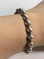 """Silpada Sterling Silver Brass Wire Wrapped Beaded 7"""" Cuff Bracelet B0521"""