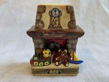 Rochard Peint Main Limoges Christmas Fireplace With Santa Trinket Box