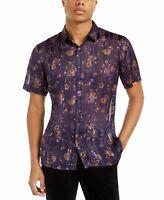 INC Mens Shirt Grape Purple Size 2XL Button Down Floral Striped Sheer $55 054
