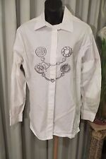 VINTAGE  80'S ~ Grey Embroidered/White MUSKETEER BLOUSE/TOP * Size 16 * REDUCED