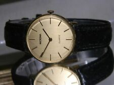 """Men's Microma Gold Thin Look Watch Fits Wrists To 8"""" New Battery. 2 Yr Warranty"""