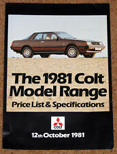 1981 COLT RANGE PRICE LIST - Lancer 2000 Turbo Sapporo Sigma Galant 1400GLX L300