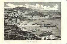 Stampa antica ANCONA Veduta panoramica del Porto Marche 1889 Old antique print