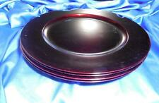 4 Elegant Deep Cherry Red Chargers, Laquered Polypropylene, 13 inch dia